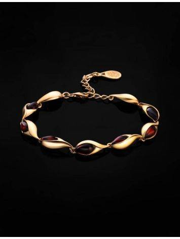 Женственный браслет из золоченного серебра и янтаря вишнёвого цвета «Пион», фото , изображение 2