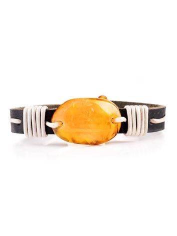 Стильный браслет из кожи, украшенный натуральным янтарём «Копакабана», фото , изображение 3