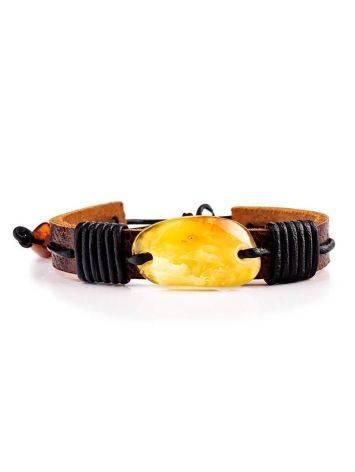 Браслет из кожи с кусочком натурального медового янтаря «Копакабана», фото , изображение 3
