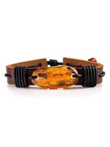 Браслет из кожи шоколадного цвета с золотисто-коньячным янтарём «Копакабана», фото , изображение 3