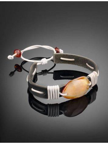 Стильный браслет из кожи, украшенный натуральным янтарём «Копакабана», фото , изображение 2
