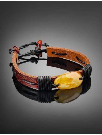 Браслет из кожи с кусочком натурального медового янтаря «Копакабана», фото , изображение 2
