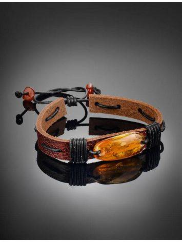 Браслет из кожи шоколадного цвета с золотисто-коньячным янтарём «Копакабана», фото , изображение 2