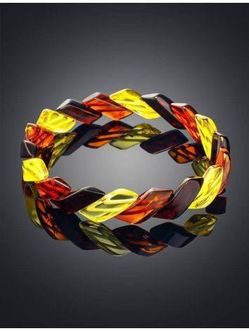 Яркий браслет из натурального янтаря «Змейка», фото , изображение 2