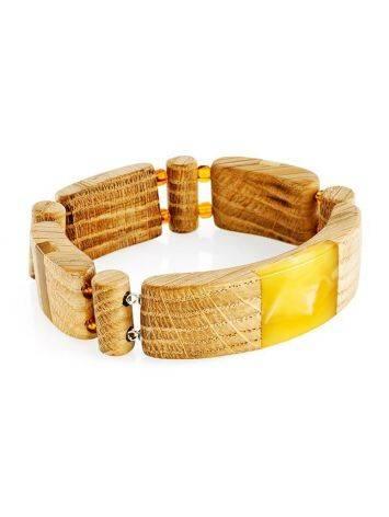 Браслет «Индонезия» из дерева с натуральным цельным янтарём, фото