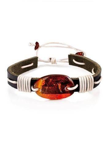 Браслет в стиле унисекс из кожи, украшенный натуральным янтарём «Копакабана», фото