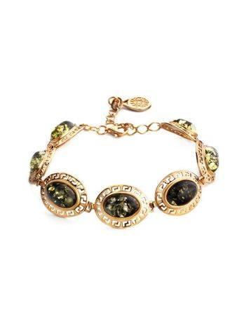 Эффектный позолоченный браслет с натуральным янтарём зелёного цвета «Эллада», фото