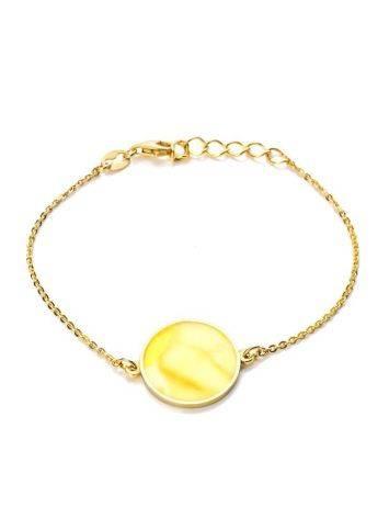 Элегантный и лаконичный браслет «Монако» из позолоченного серебра и янтаря. Янтарь®, фото