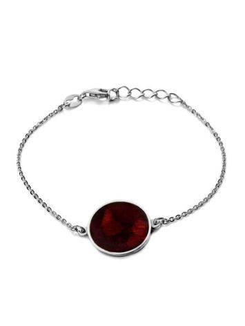 Изысканный браслет из серебра и натурального вишнёвого янтаря «Монако». Янтарь®, фото