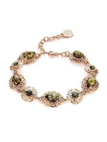 Изысканный позолоченный браслет с натуральным зелёным янтарём «Луксор», фото