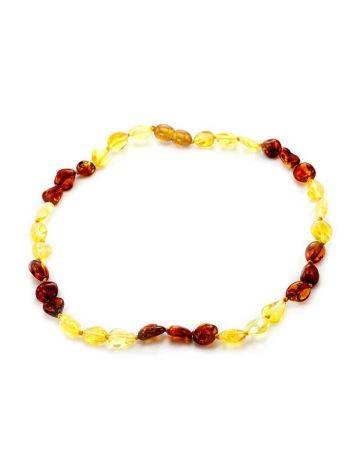 Короткие детские янтарные бусы «Мелкая оливка» золотисто-лимонного и вишневого цвета, фото