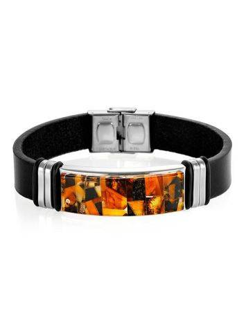 Кожаный браслет, украшенный янтарной мозаичной вставкой «Сильверстоун», фото