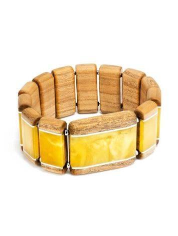 Необычный деревянный браслет с натуральным балтийским янтарём и серебром «Индонезия», фото