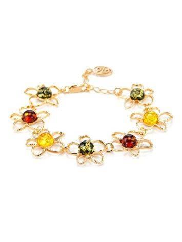 Очаровательный яркий браслет из золочённого серебра с янтарём «Ромашка», фото