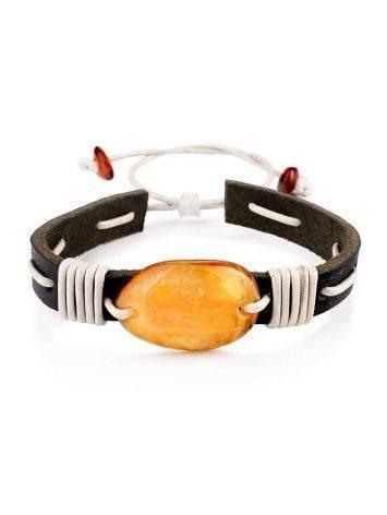Стильный браслет из кожи, украшенный натуральным янтарём «Копакабана», фото
