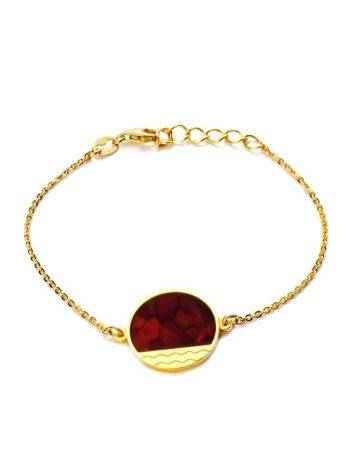 Стильный браслет «Монако» из позолоченного серебра и вишнёвого янтаря. Янтарь®, фото