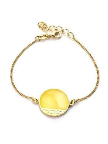 Стильный браслет «Монако» из позолоченного серебра и янтаря. Янтарь®, фото