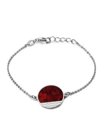 Стильный серебряный браслет с натуральным вишнёвым янтарём «Монако». Янтарь®, фото