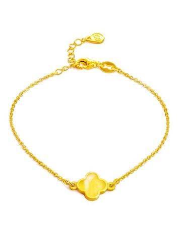 Тонкий изящный браслет из позолоченного серебра и медового янтаря «Монако». Янтарь®, фото