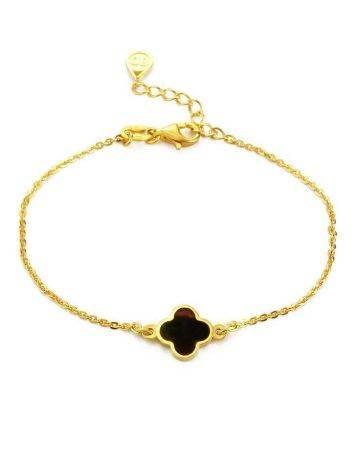 Тонкий изящный браслет из позолоченного серебра и янтаря «Монако». Янтарь®, фото
