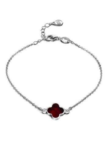 Тонкий нежный браслет из серебра с натуральным янтарём «Монако». Янтарь®, фото