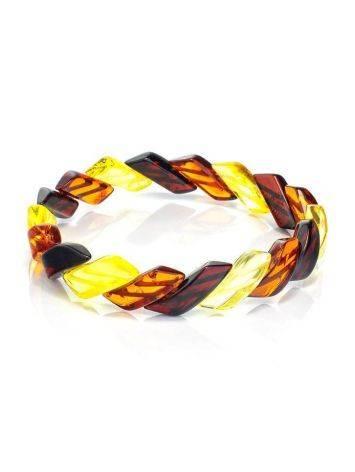 Яркий браслет из натурального янтаря «Змейка», фото