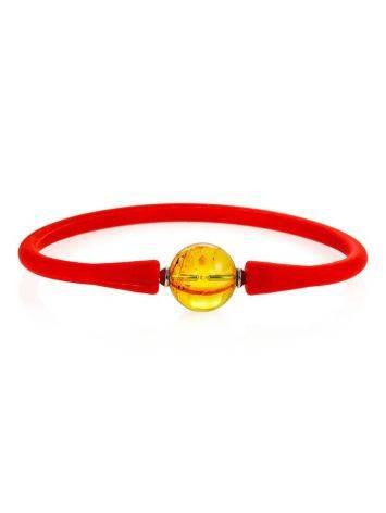 Яркий красный браслет из силикона с янтарной бусиной-проставкой «Гавайи», фото