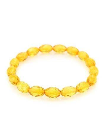 Яркий сверкающий браслет из натурального балтийского лимонного янтаря «Оливка алмазная», фото