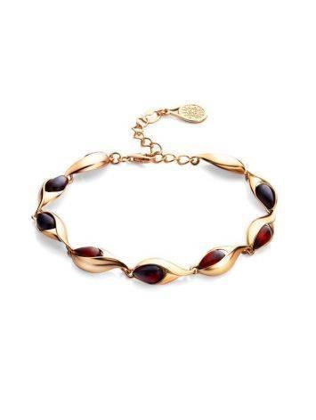 Женственный браслет из золоченного серебра и янтаря вишнёвого цвета «Пион», фото