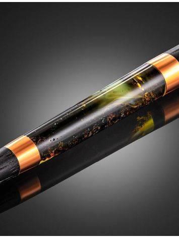 Эксклюзивная ручка из дерева и натурального янтаря с живописной текстурой, фото , изображение 6