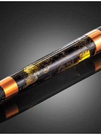 Эксклюзивная ручка из дерева и натурального янтаря с живописной текстурой, фото , изображение 3