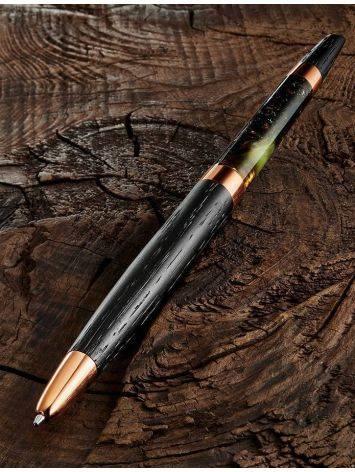 Эксклюзивная ручка из дерева и натурального янтаря с живописной текстурой, фото , изображение 2