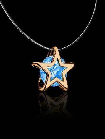 Золотая подвеска-звездочка с кристаллом на леске «Аврора», Длина: 40, фото , изображение 2