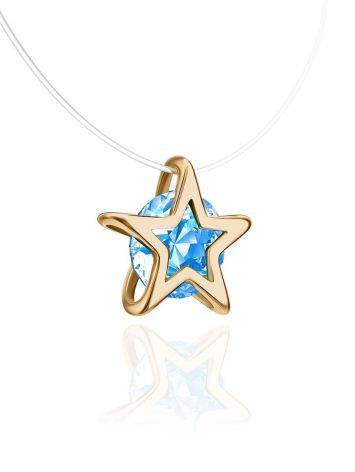 Золотая подвеска-звездочка с кристаллом на леске «Аврора», Длина: 40, фото , изображение 3