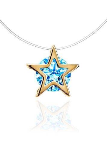 Золотая подвеска-звездочка с кристаллом на леске «Аврора», Длина: 40, фото