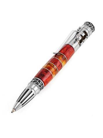 Необычная ручка с красной древесиной падука и натуральным янтарём «Драйвер», фото