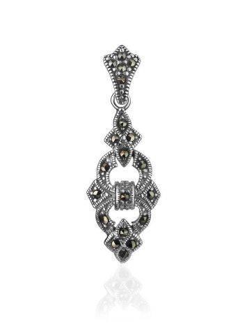 Удлиненный серебряный кулон с марказитами Lace, фото