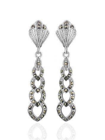 Ажурные серебряные серьги с марказитами Lace, фото