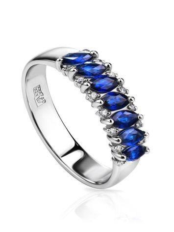 Стильное кольцо из белого золота с сапфирами в окружении 14 бриллиантов «Ундина», Размер кольца: 16, фото