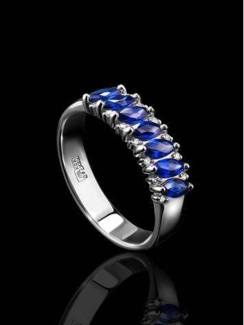 Стильное кольцо из белого золота с сапфирами в окружении 14 бриллиантов «Ундина», Размер кольца: 16, фото , изображение 2