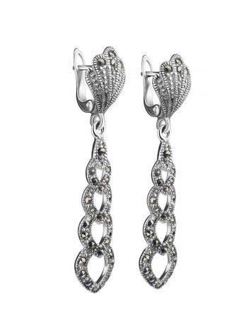 Ажурные серебряные серьги с марказитами Lace, фото , изображение 3