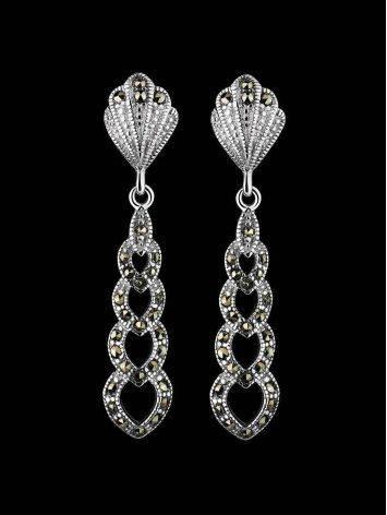 Ажурные серебряные серьги с марказитами Lace, фото , изображение 2