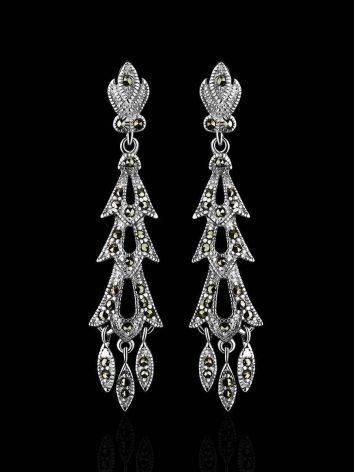 Удлиненные серебряные серьги с марказитами Lace, фото , изображение 2