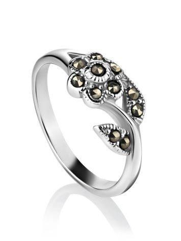 Серебряное кольцо в цветочном дизайне с марказитами Lace, Размер кольца: 16.5, фото