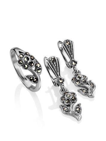 Удлиненные серебряные серьги в цветочном дизайне с марказитами Lace, фото , изображение 4