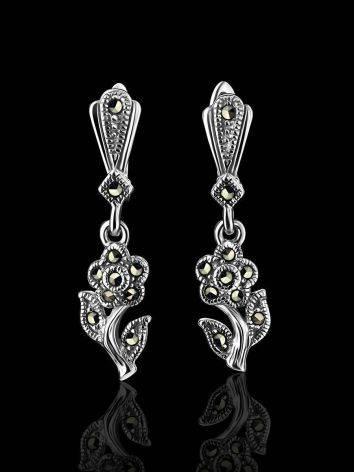Удлиненные серебряные серьги в цветочном дизайне с марказитами Lace, фото , изображение 2