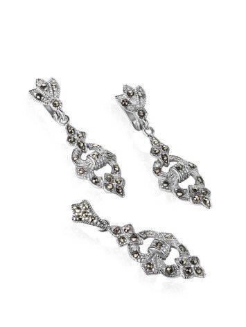 Удлиненные серебряные серьги с марказитами Lace, фото , изображение 4