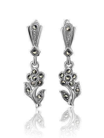 Удлиненные серебряные серьги в цветочном дизайне с марказитами Lace, фото , изображение 3