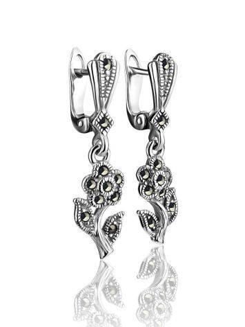 Удлиненные серебряные серьги в цветочном дизайне с марказитами Lace, фото