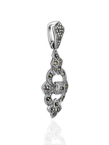 Удлиненный серебряный кулон с марказитами Lace, фото , изображение 3